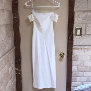 White semi long dress